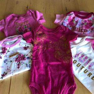 Set of 5 Juicy Couture Baby Girl Onsies Shirts